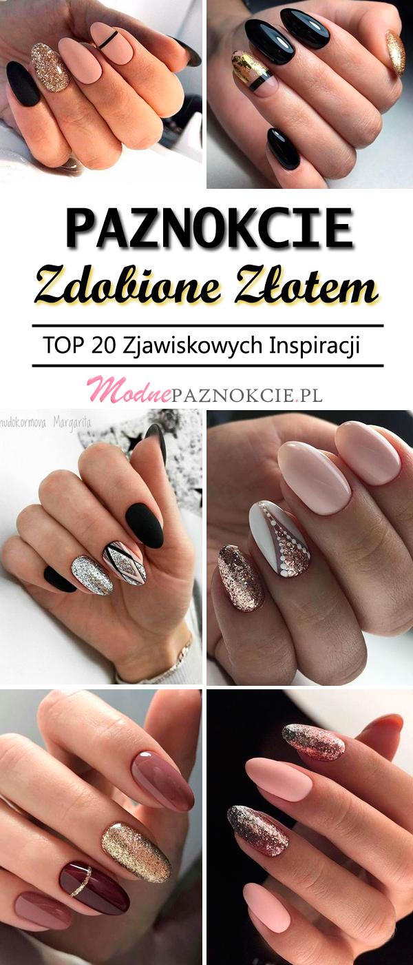 Eleganckie paznokcie złote